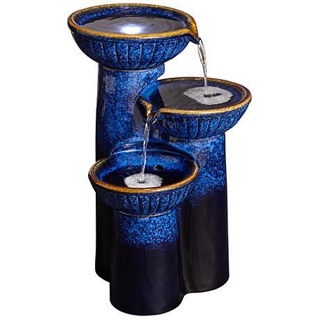 3-Bowl Ceramic Cobalt Blue Outdoor LED Floor Fountain