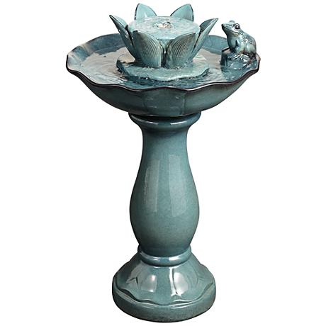 Pleasant Pond Frog and Lotus Outdoor Pedestal Fountain