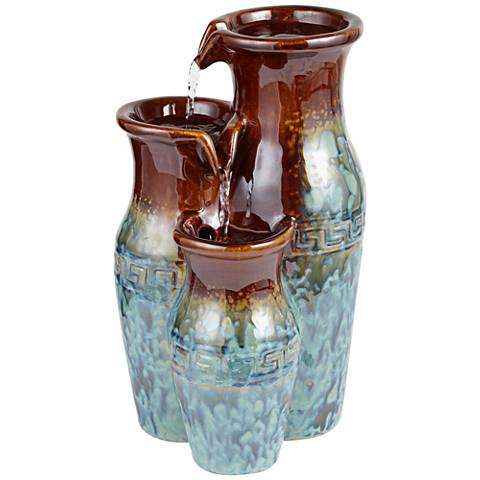 "Mediterranean Jar 11 1/2"" High Ceramic Tabletop Fountain"