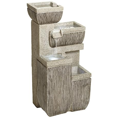 """Alamere Square 31 3/4""""H Tiered Outdoor LED Floor Fountain"""