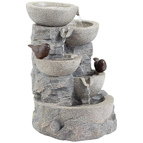 """Perched Bird Faux Stone 19"""" High Outdoor Floor Fountain"""