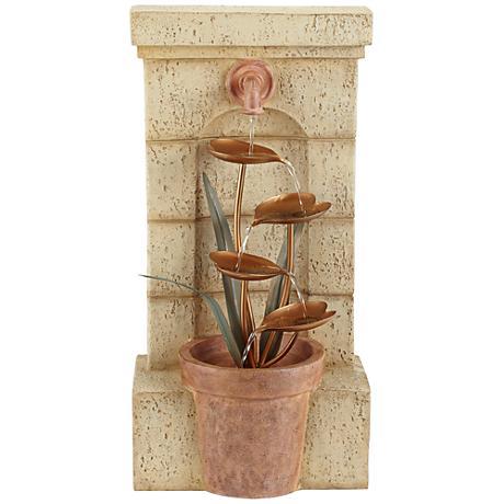 """Copper Flower Pot 30"""" High Cascade Garden Fountain"""