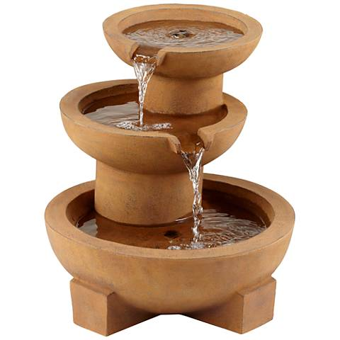 """Tempe Rustic Tiered Bowl 21"""" High Outdoor Floor Fountain"""