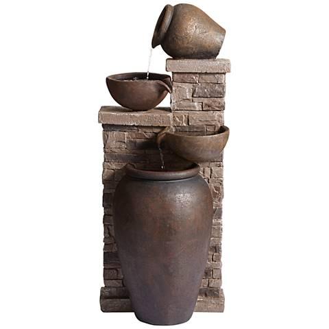 """Pot and Brick 32 1/2"""" High Cascade Garden Fountain"""
