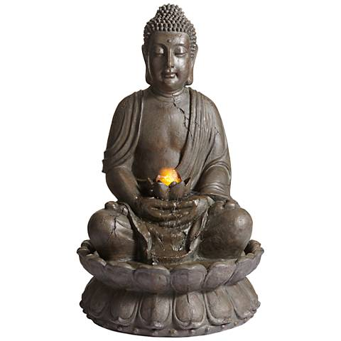 "Meditating Buddha 33 1/2"" High Indoor-Outdoor Water Fountain"