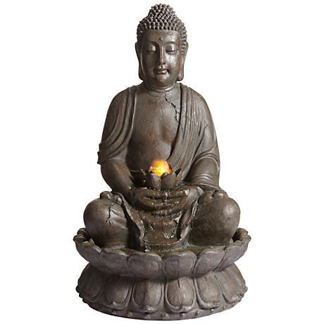 "Meditating Buddha 33 1/2"" High Water Fountain"