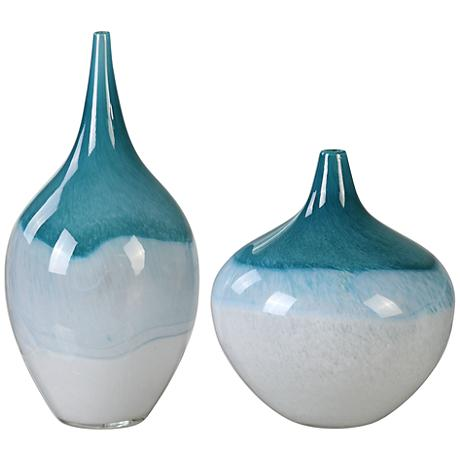 Uttermost Carla Teal Green and White 2-Piece Glass Vase Set