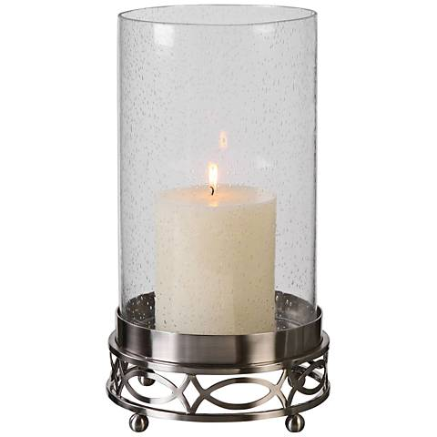 Uttermost Umberto Brushed Nickel Glass Pillar Candle Holder