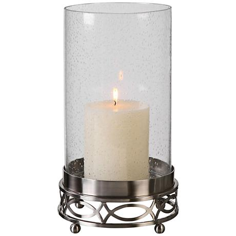 Uttermost Umberto Brushed Nickel Glass Pillar Candle Holder
