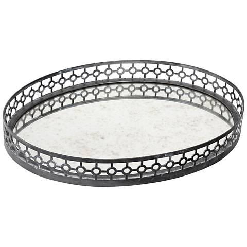 Uttermost Alessandra Oxidized Gray Mirror Oval Tray