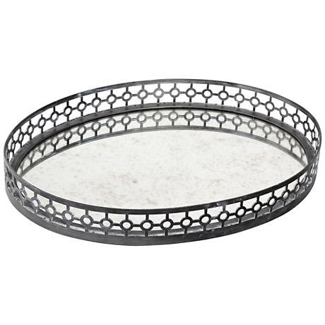Uttermost Alessandra Oxidized Gray Mirror Oval Tray