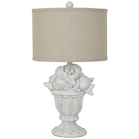 Crestview Collection Shell Urn White Washed Table Lamp