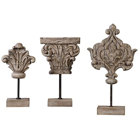 Uttermost Marta Ivory Gray Wood 3-Piece Sculptures Set