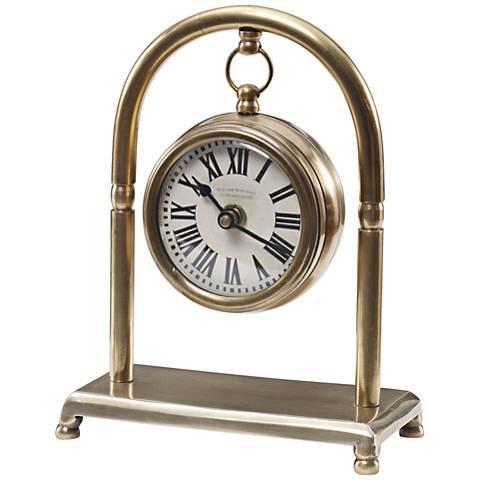 """Uttermost Bahan Brass 7 3/4"""" High Table Clock"""