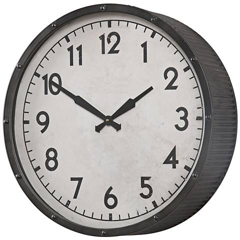 "Uttermost Berta Aged Black 22"" Round Wall Clock"