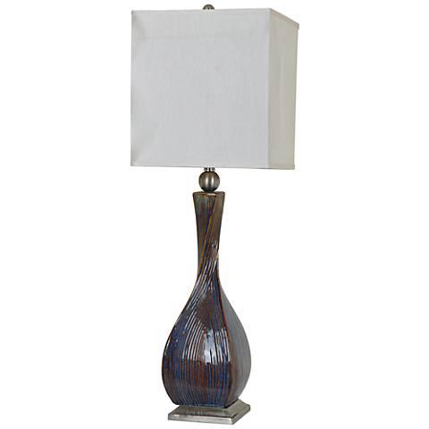 Crestview Collection Allegri Blue Brown Ceramic Table Lamp