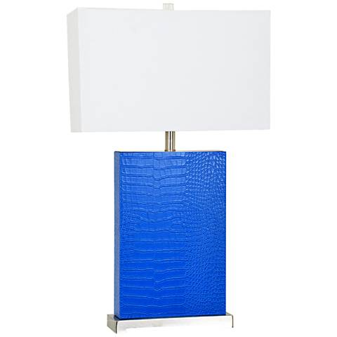 Crestview Collection Hardy 3 Blue Leather Table Lamp