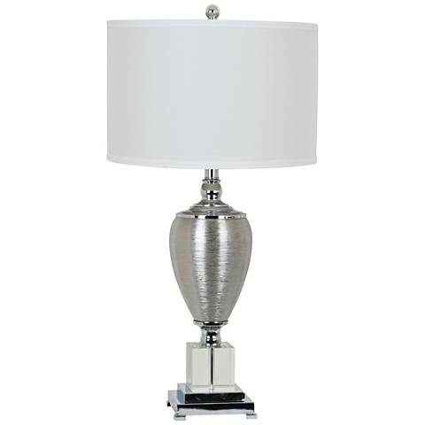 Genie Etched Silver and Crystal Table Lamp