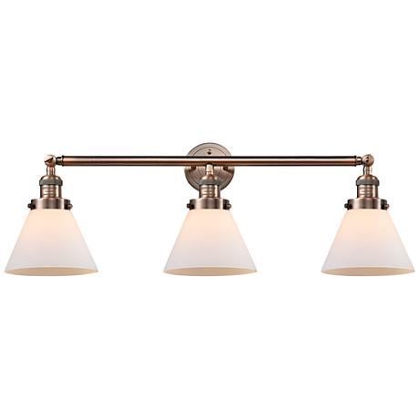 "Cone Collection 32"" Wide Three-Light Bath Light in Copper"