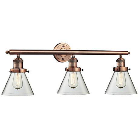 """Cone Collection 32"""" Wide Clear Glass Bath Light in Copper"""