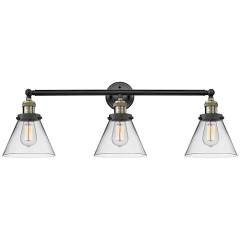 "Cone Collection 32"" Wide Clear Glass Black Brass Bath Light"