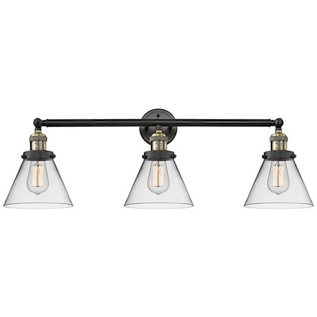 """Cone Collection 32"""" Wide Clear Glass Black Brass Bath Light"""
