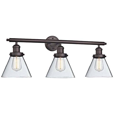 "Cone 32"" Wide Clear Glass Oil Rubbed Bronze Bath Light"