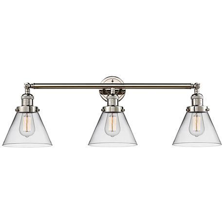"Cone 32"" Wide Clear Glass Polished Nickel Bath Light"