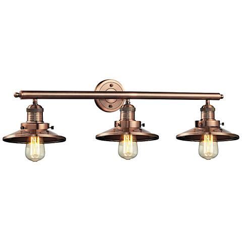 "Halophane Antique Copper Shades 32"" Wide Bath Light"