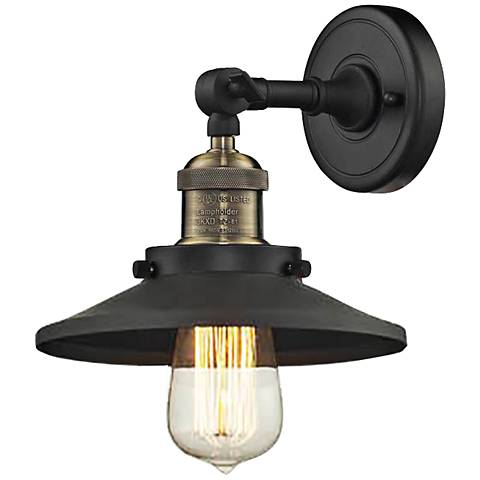 "Railroad Black Brass 8"" High Metal Shade Wall Sconce"