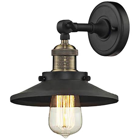 "Halophane Black Brass 9"" Wide Metal Shade Wall Sconce"
