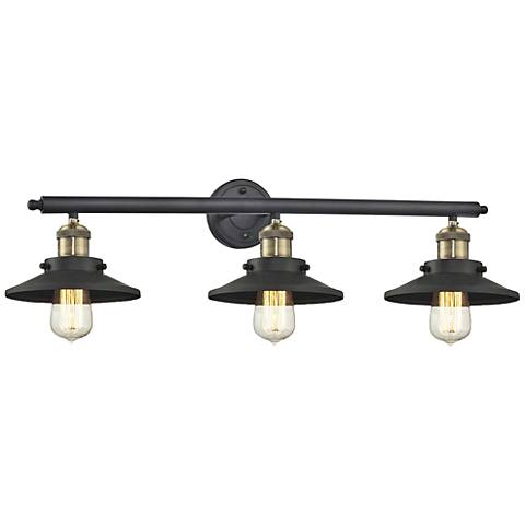 "Railroad Black Brass Shades 32"" Wide 3-Light  Bath Light"