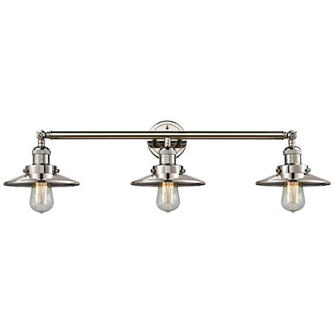 "Railroad Polished Nickel Shades 32"" Wide 3-Light Bath Light"