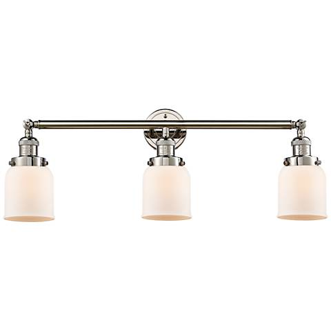 "Small Bell 30"" Wide White Glass Polished Nickel Bath Light"