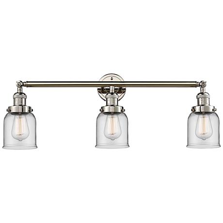 """Small Bell 30"""" Wide Clear Glass Polished Nickel Bath Light"""