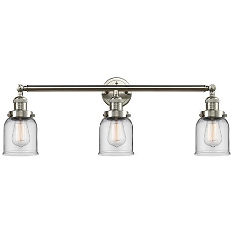 "Small Bell 30"" Wide Clear Glass Satin Nickel Bath Light"