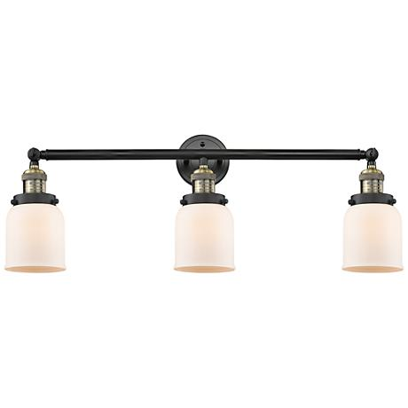 "Small Bell 30"" Wide White Glass Black Brass Bath Light"