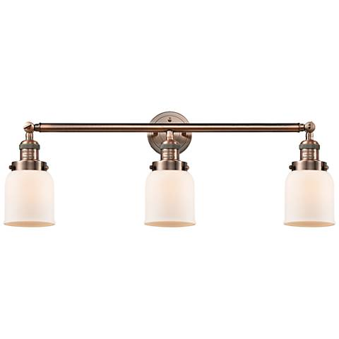 """Small Bell 30"""" Wide Matte White - Copper Finish Bath Light"""