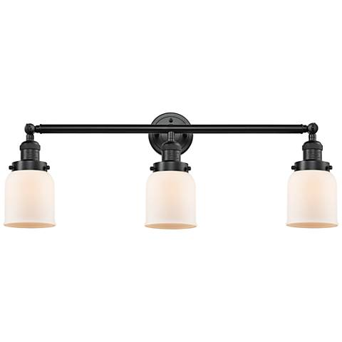 "Small Bell 30"" Wide Matte White - Oil Bronze Bath Light"