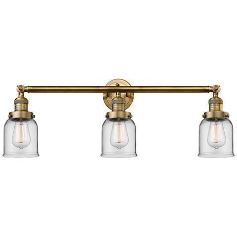 "Small Bell 30"" Wide Clear Glass - Brushed Brass Bath Light"