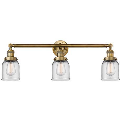 """Small Bell 30"""" Wide Clear Glass - Brushed Brass Bath Light"""