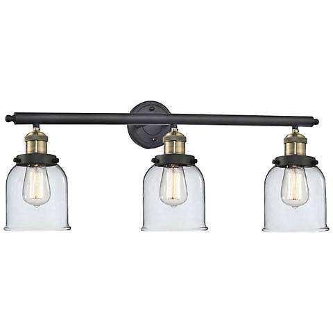 "Small Bell 30"" Wide Clear Glass - Black Brass Bath Light"