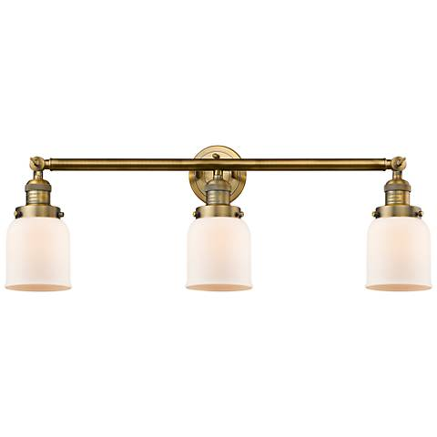 "Small Bell 30"" Wide Matte White - Brushed Brass Bath Light"