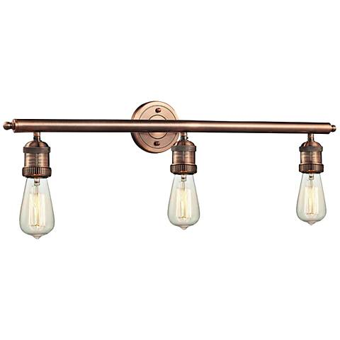 "Bare Bulb Collection Antique Copper 29"" Wide Bath Light"