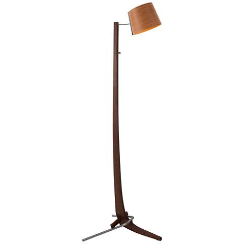 Cerno Silva Brushed Aluminum Walnut LED Floor Lamp