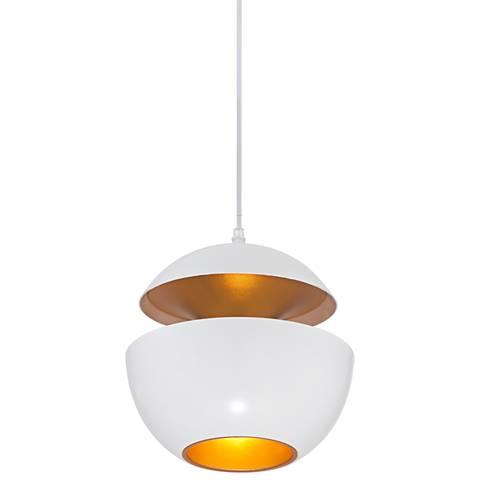"""Possini Euro Bryson White and Gold 10""""W Mini Pendant Light"""