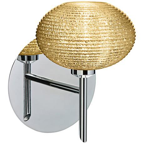 "Besa Lasso 7"" High Chrome Gold Glitter Glass LED Wall Sconce"