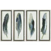 "Feathered Beauty 4-Piece 38 1/4"" High Frame Wall Art Set"