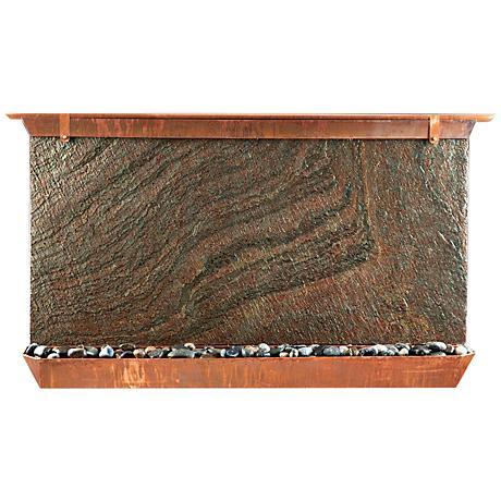 "Victoria Falls 49"" Wide Copper Indoor-Outdoor Wall Fountain"