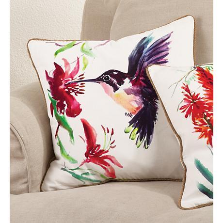 "Printed Bird Design 18"" Square Decorative Pillow"